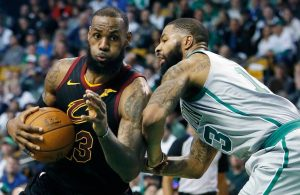 LeBron James and Marcus Morris Cavs Celtics