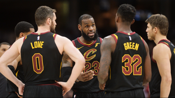 Jordan Clarkson, Kevin Love, LeBron James, Jeff Green and Kyle Korver