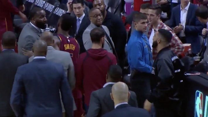 Cavs Players And Rapper Drake Exchange Angry Words During NBA Playoff Game