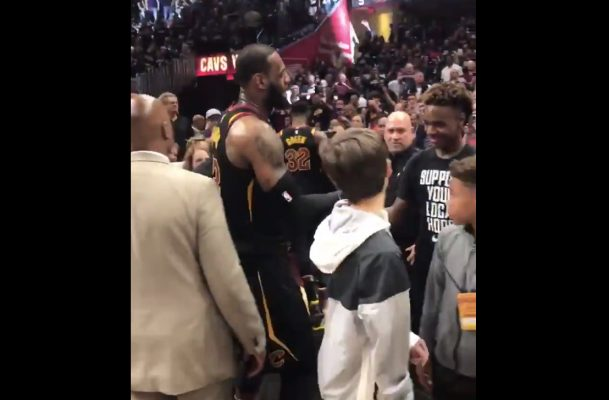 LeBron James and LeBron James Jr. Handshake