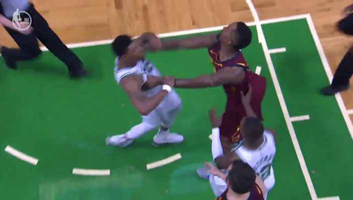 JR Smith Shoves Al Horford Mid-Air, Marcus Smarts Retaliates