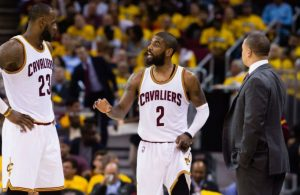 LeBron James, Kyrie Irving, and Tyronn Lue