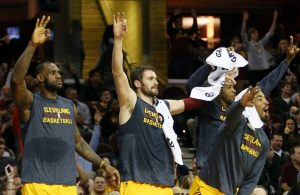 LeBron James, Kevin Love, J.R. Smith and Tristan Thompson