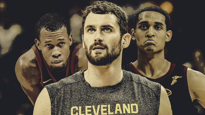 Rodney Hood, Kevin Love, and Jordan Clarkson
