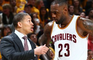 Tyronn Lue and LeBron James Cavs
