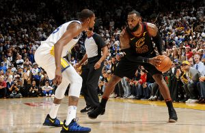 Kevin Durant and LeBron James Cavs Warriors