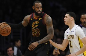 LeBron James and Lonzo Ball Cavs Lakers