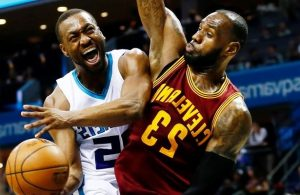 Kemba Walker and LeBron James