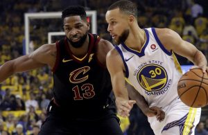 Tristan Thompson and Stephen Curry NBA Finals
