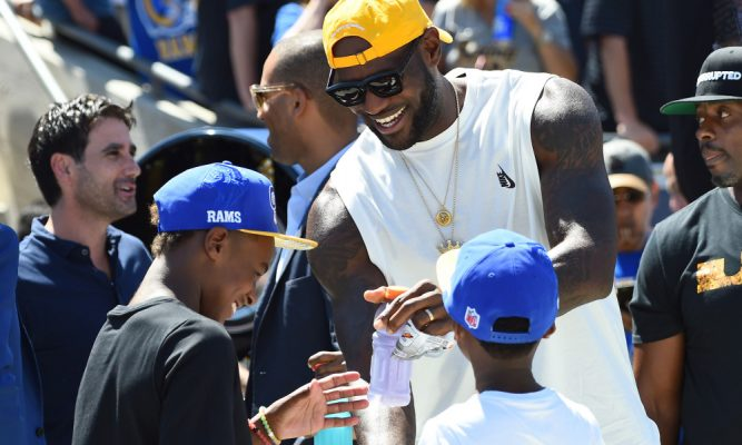 LeBron James and LeBron James Jr.
