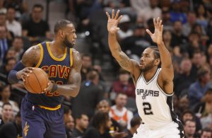 LeBron James and Kawhi Leonard Cavs Spurs