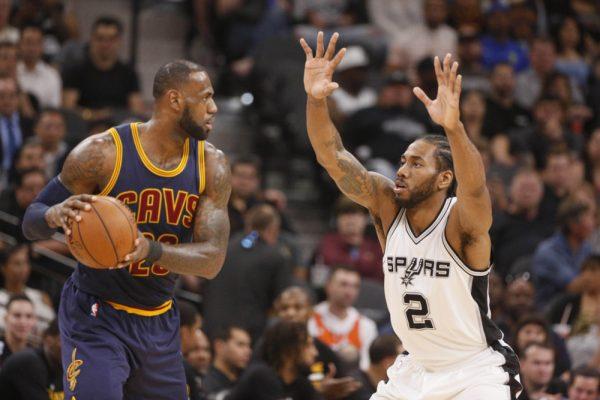LeBron James and Kawhi Leonard Cavs Spurs