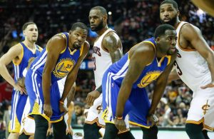 LeBron James, Tristan Thompson and Draymond Green
