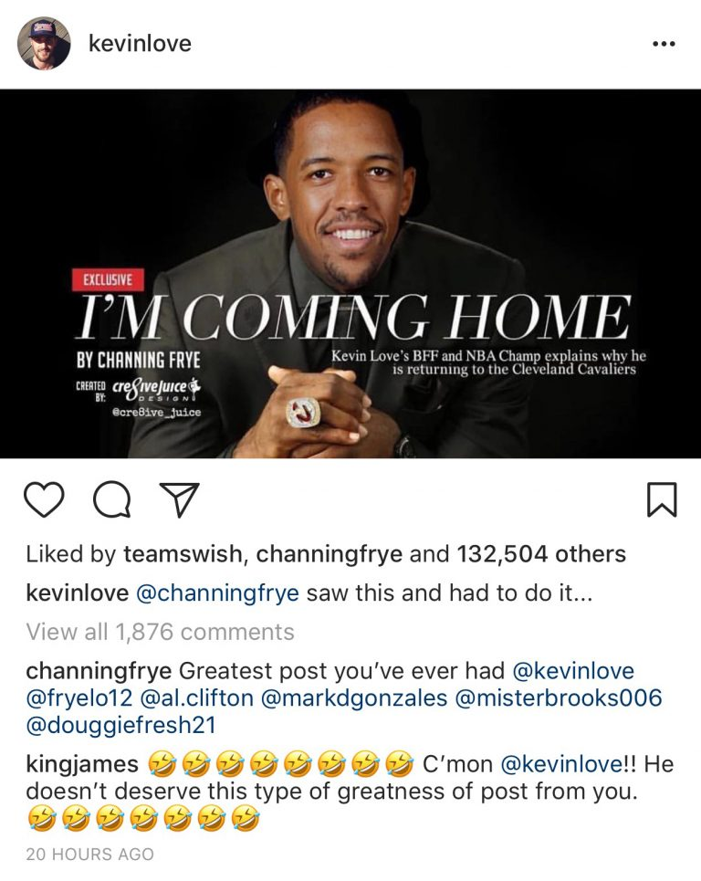 Kevin Love's Instagram message to Channing Frye via