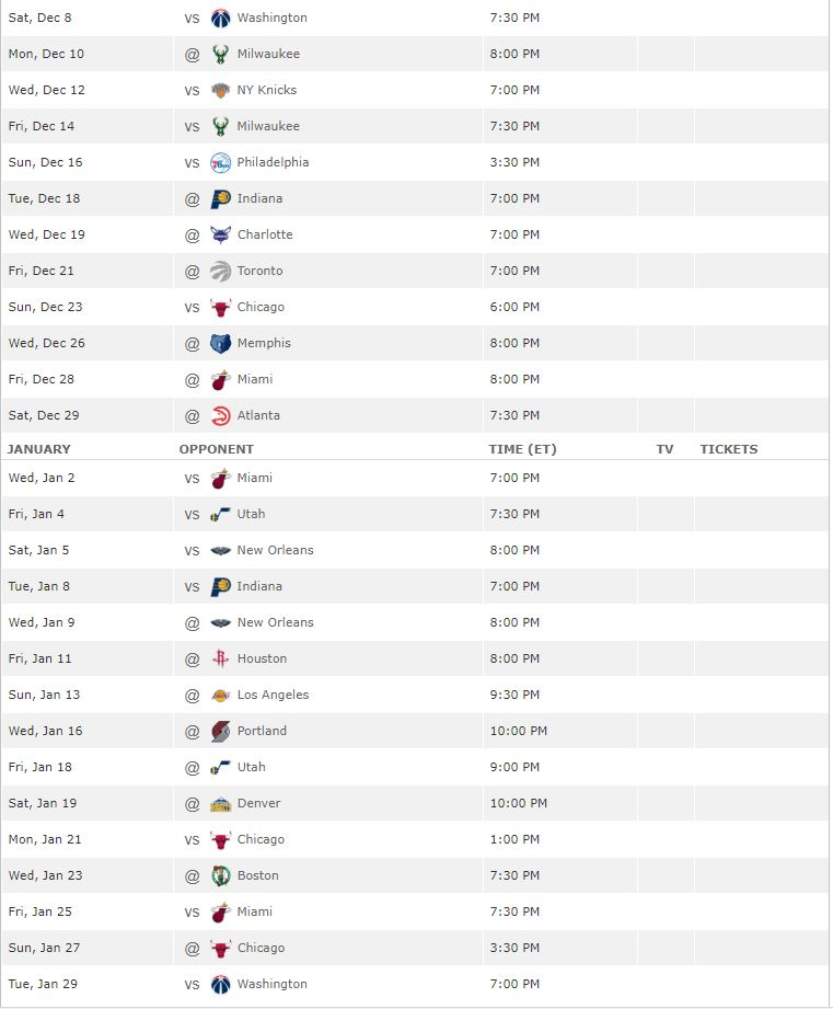 Cleveland Cavaliers Schedule for 2018-19 Season