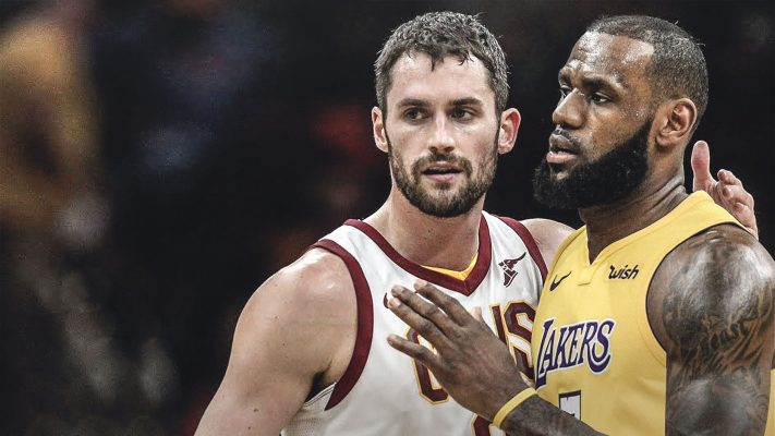 Kevin Love Cavs and LeBron James Lakers