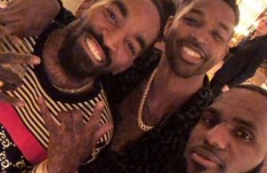 J.R. Smith, Tristan Thompson, and LeBron James