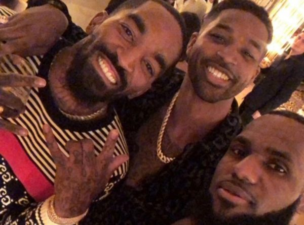 J.R. Smith, Tristan Thompson, and LeBron James