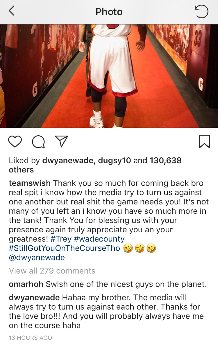 Dwyane Wade J.R. Smith Instagram