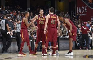 George Hill, Larry Nance Jr., Cedi Osman, Kevin Love, Rodney Hood