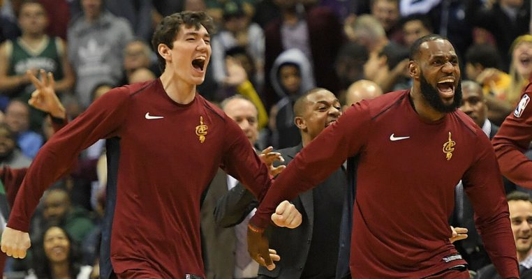 Cedi Osman and LeBron James Cavs