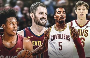 Collin Sexton, Kevin Love, J.R. Smith, and Cedi Osman