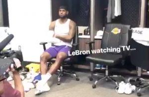 LeBron James Watching Cavs Game