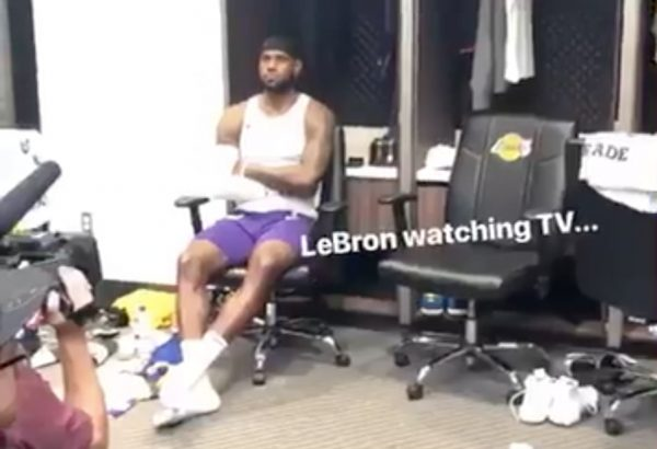 LeBron James Watching Cavs Game
