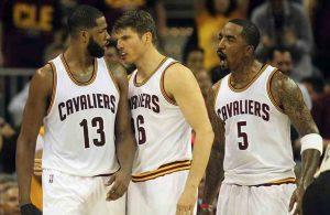 Tristan Thompson, Kyle Korver, and J.R. Smith