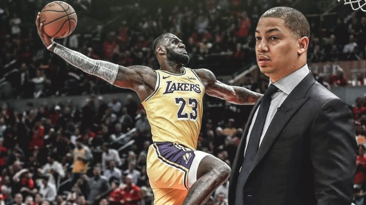 LeBron James and Tyronn Lue Lakers