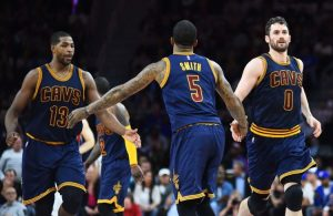 Tristan Thompson, J.R. Smith and Kevin Love