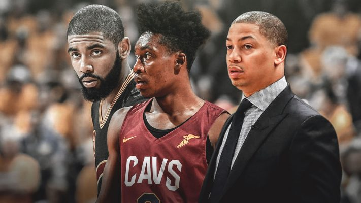 Kyrie Irving, Collin Sexton, and Tyronn Lue