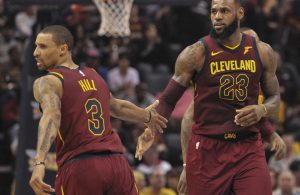 George Hill and LeBron James Cavs