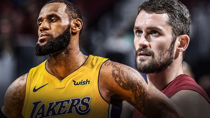 LeBron James and Kevin Love Lakers Cavs