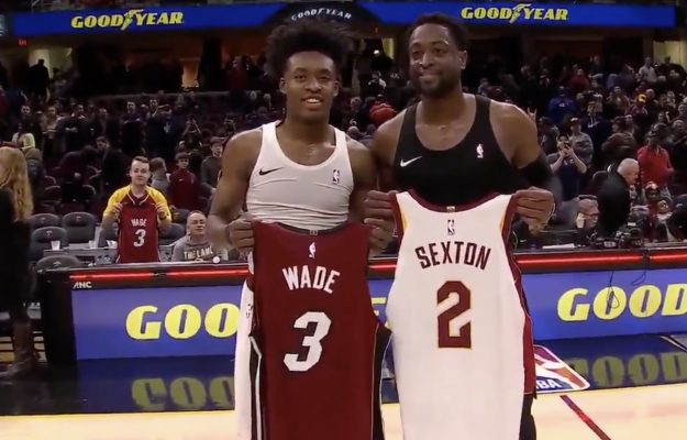 Collin Sexton and Dwyane Wade