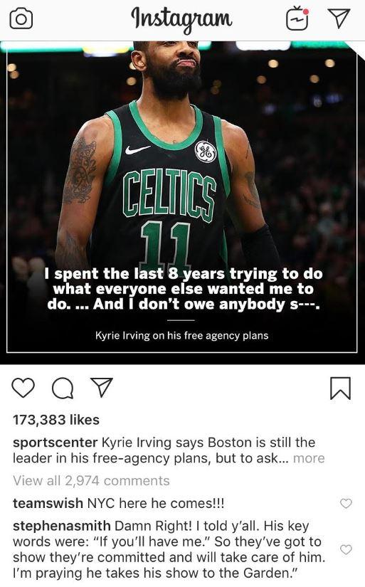 Kyrie Irving J.R. Smith Instagram Knicks