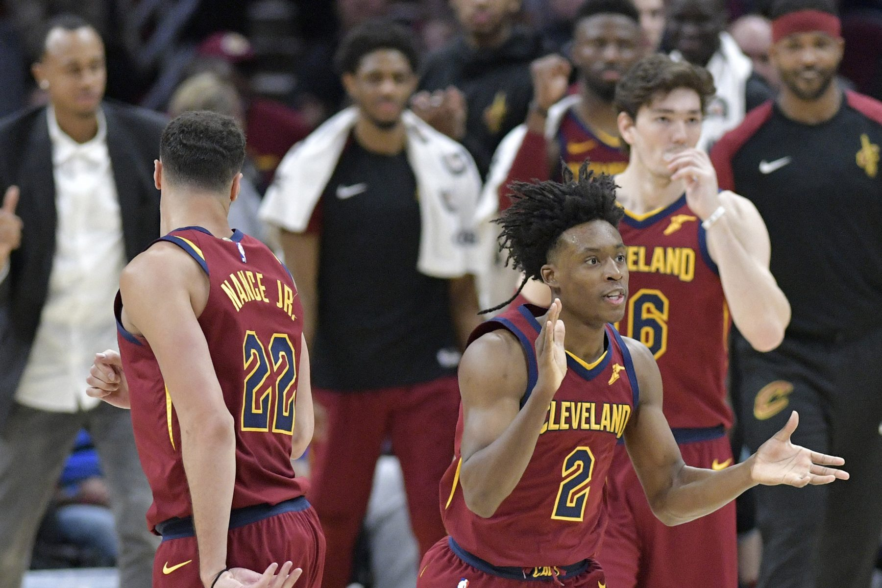 Collin Sexton, Cedi Osman, and Larry Nance Jr.