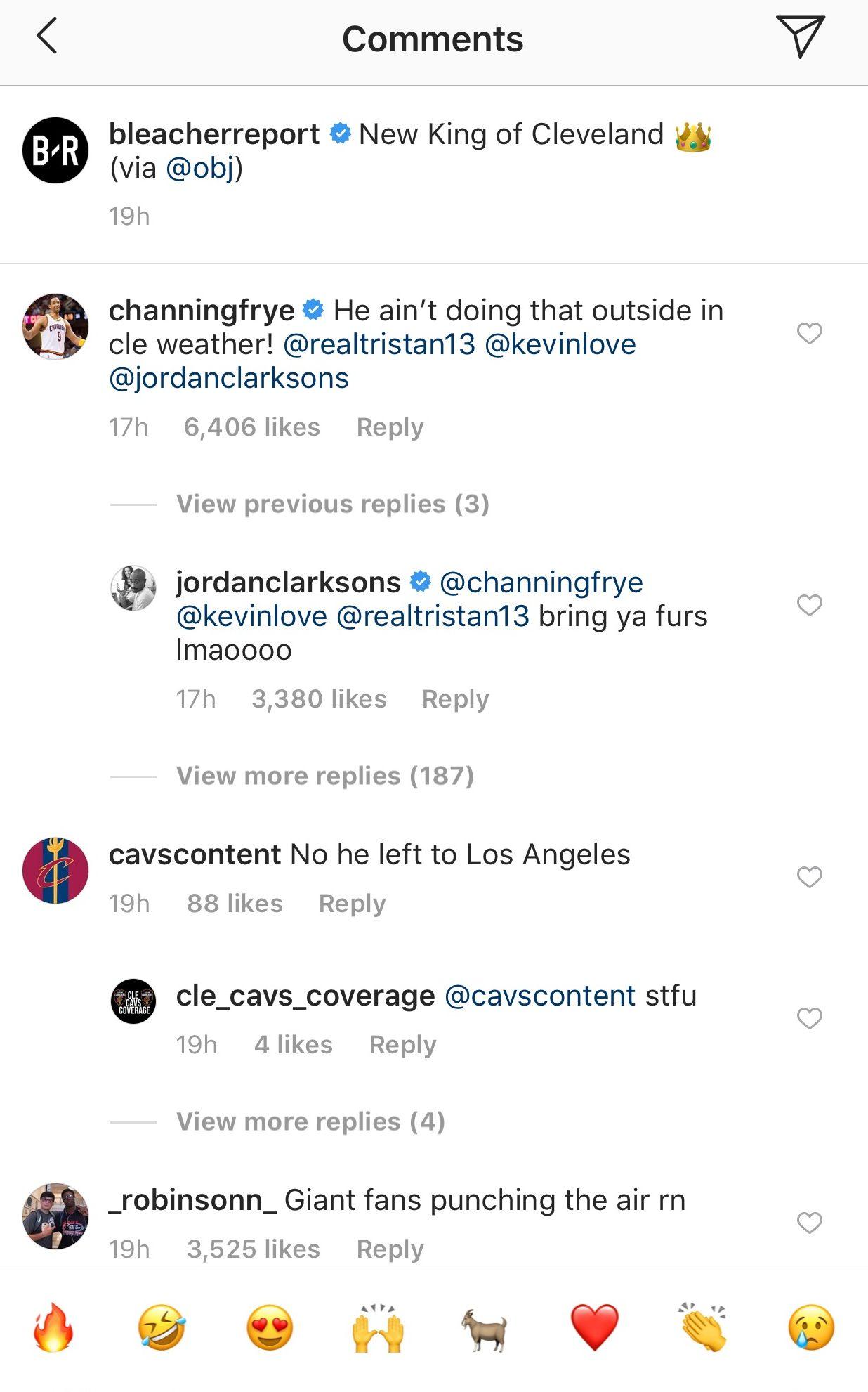 Channing Frye, Jordan Clarkson, Odell Beckham Jr. Instagram