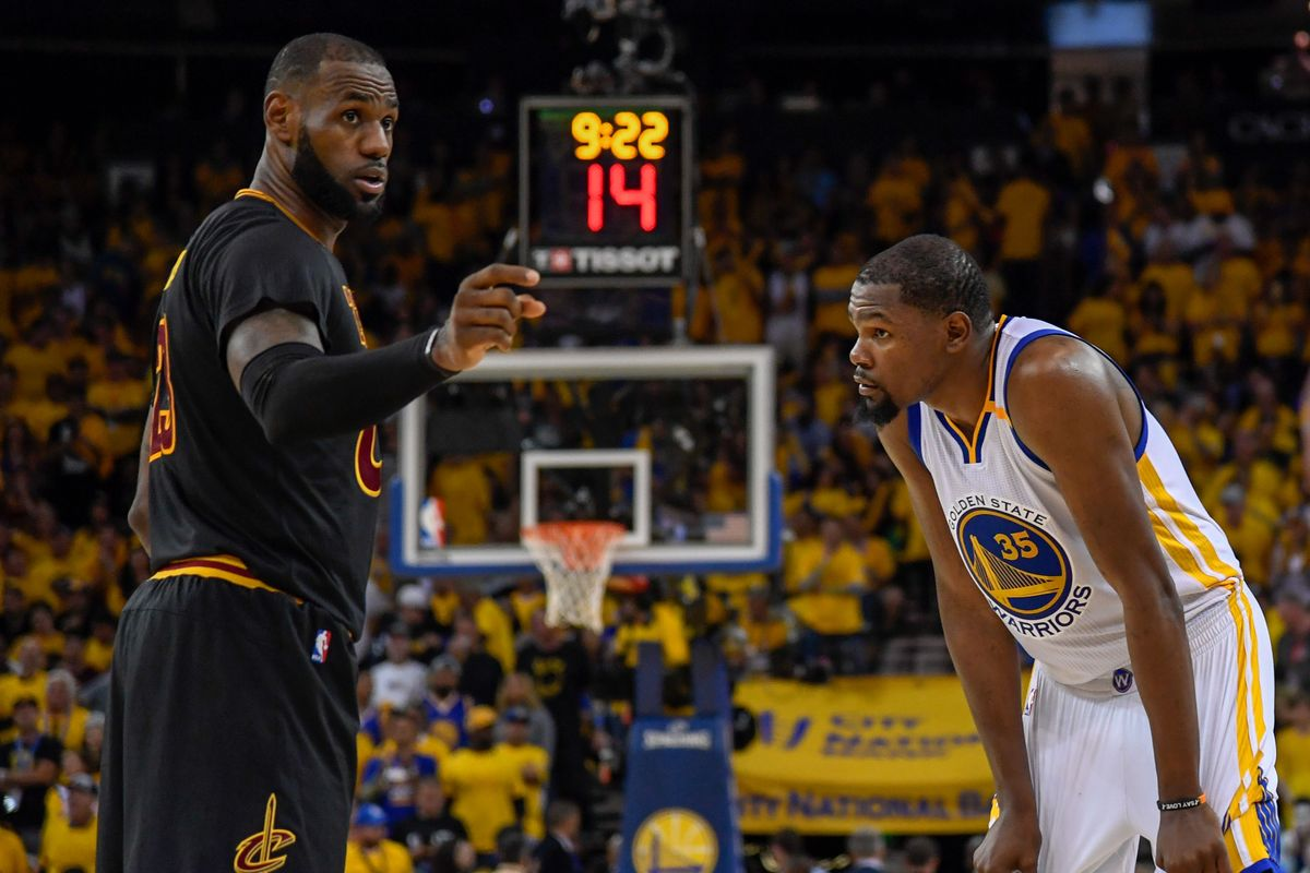 LeBron James and Kevin Durant Cavs Warriors