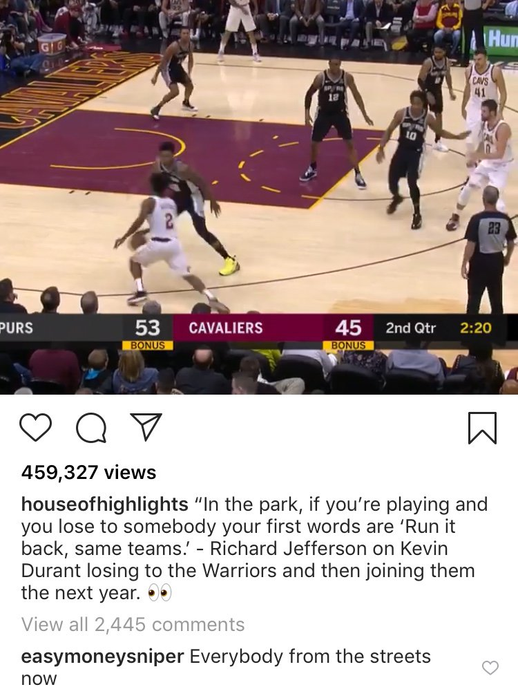 Richard Jefferson Kevin Durant Cavs Warriors