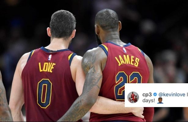 Kevin Love, LeBron James, and Chris Paul
