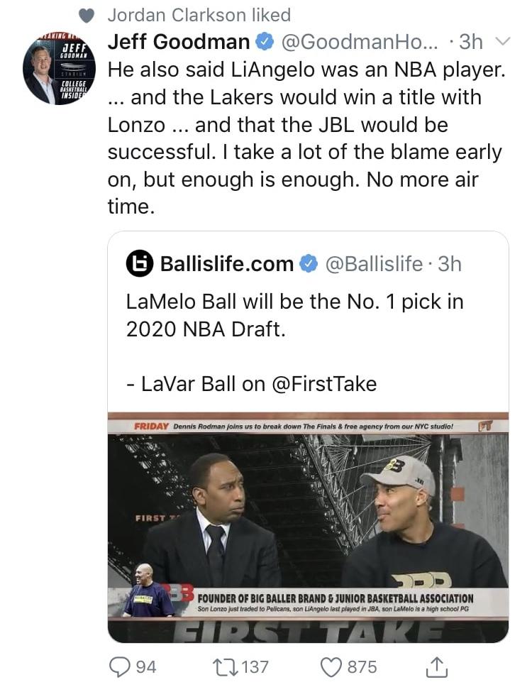 Jordan Clarkson Liking LaVar Ball's Tweet