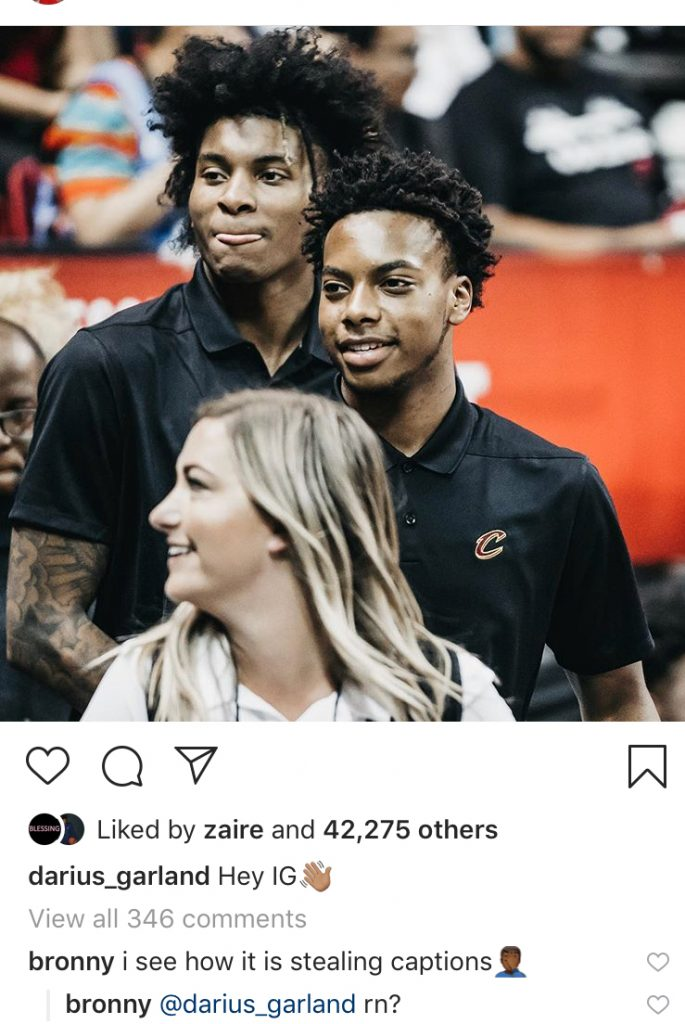 Darius Garland, Kevin Porter Jr., LeBron James Jr.