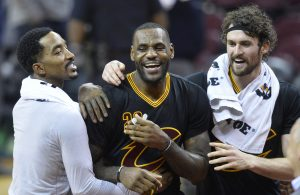 J.R. Smith, LeBron James, and Kevin Love