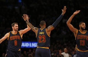 Kevin Love, LeBron James, and Tristan Thompson