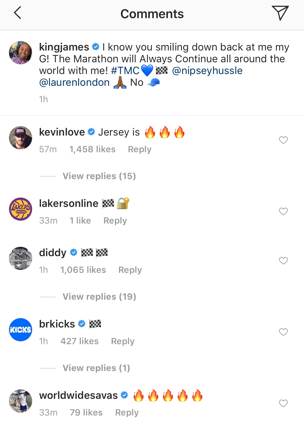 Kevin Love LeBron James Nipsey Hussle