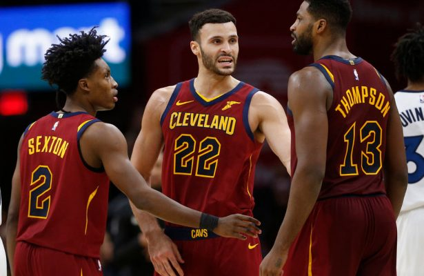 Collin Sexton, Larry Nance Jr. and Tristan Thompson