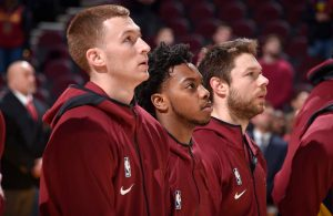 Darius Garland, Dylan Windler and Matthew Dellavedova