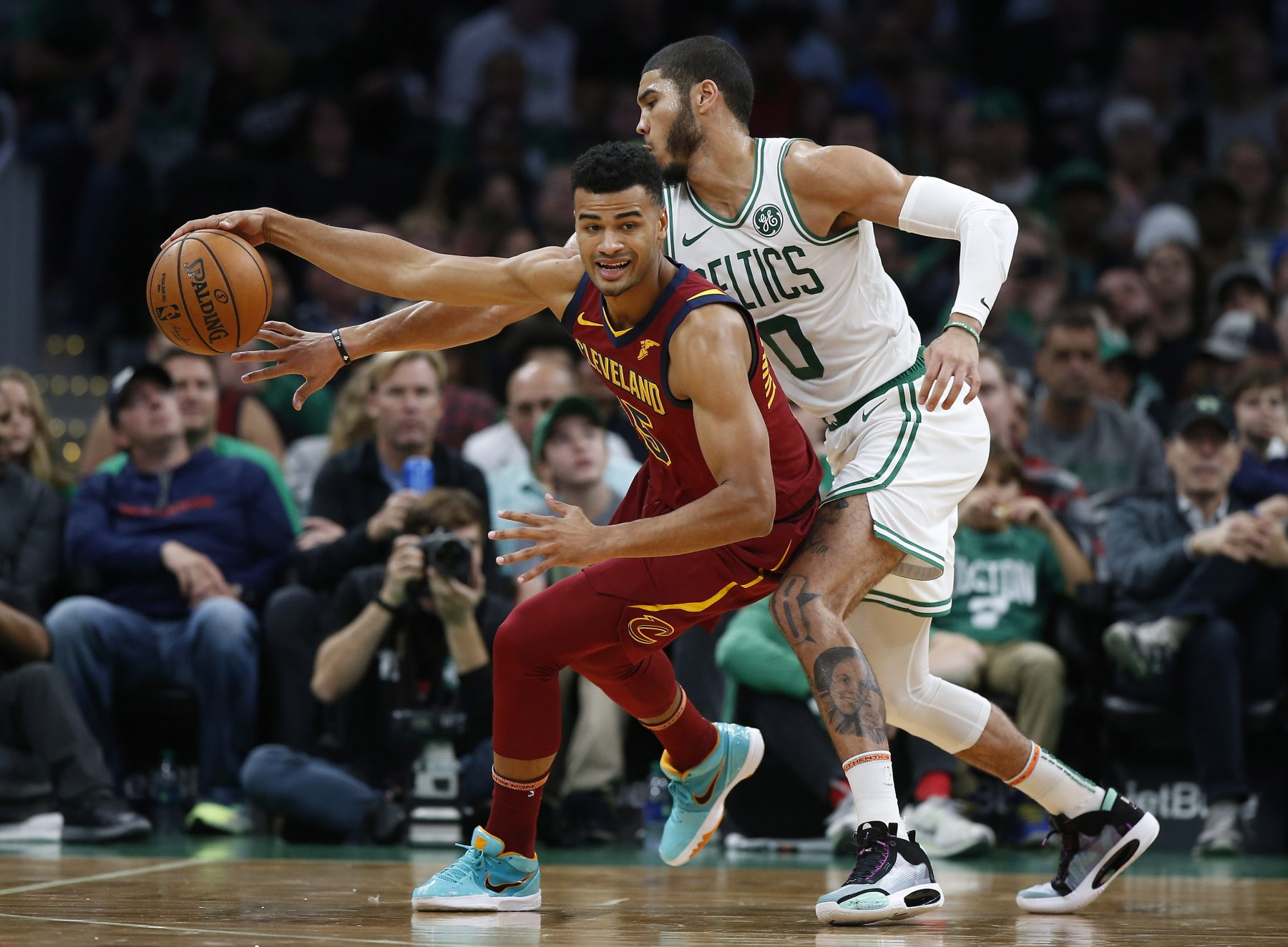 Jayson Tatum and Larry Nance Jr.