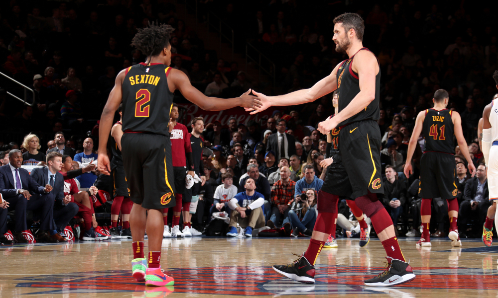 Collin Sexton and Kevin Love